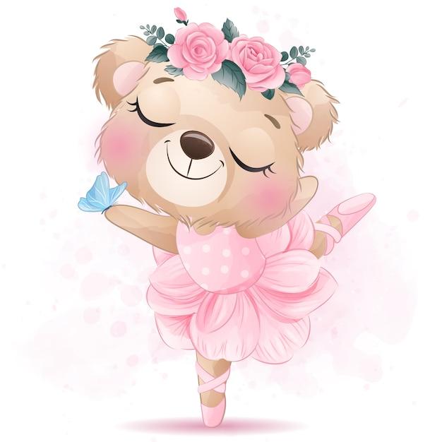Schattige kleine beer met ballet dans Premium Vector