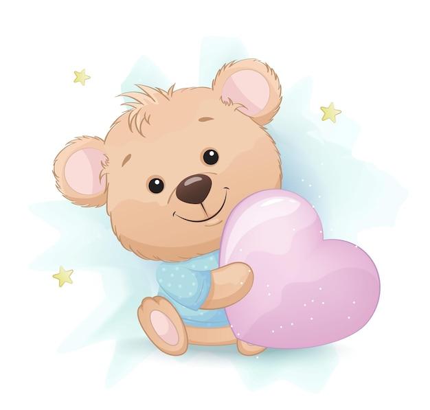 Schattige kleine beer met groot roze kussen in de vorm van een hart Premium Vector