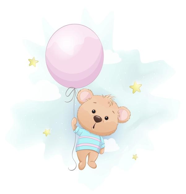 Schattige kleine beer met grote roze ballon Premium Vector