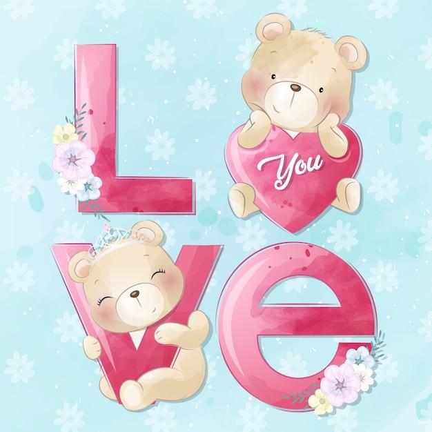 Schattige kleine beer met liefde alfabet Premium Vector