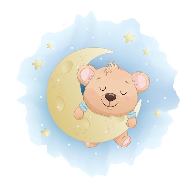 Schattige kleine beer slapen op de maan Premium Vector