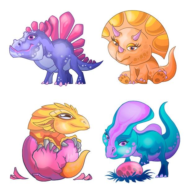 Schattige kleine dinosaurussen cartoon set. speel met ei, sta op, geboren uit een ei. stripfiguren illustratie. voor print design wenskaart gebruikt voor print design template Premium Vector