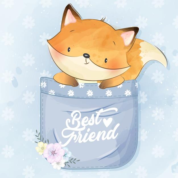Schattige kleine foxy in de zak Premium Vector
