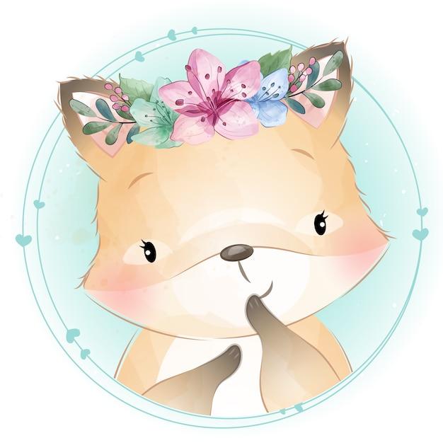 Schattige kleine foxy met bloemenportret Premium Vector
