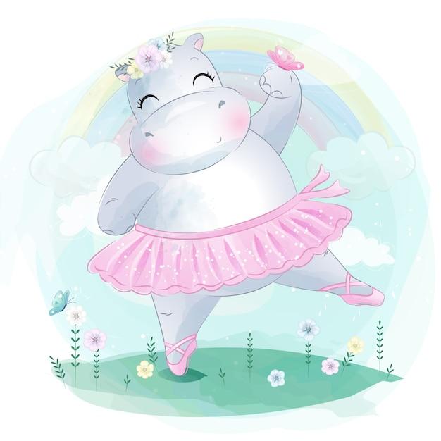 Schattige kleine hippo balletdans Premium Vector