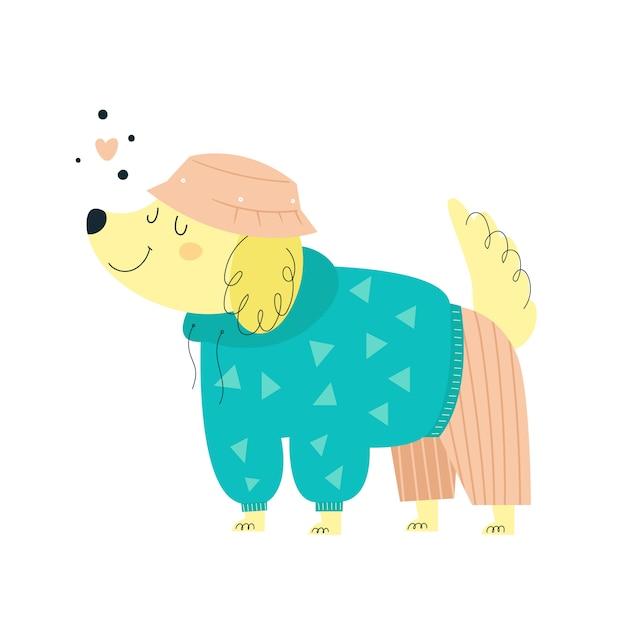 Schattige kleine hond in mode kleding. trendy puppyhond Premium Vector