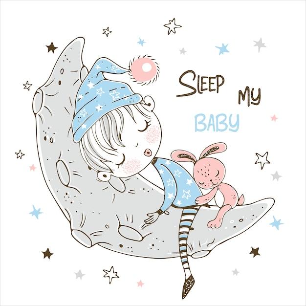 Schattige kleine jongen zoet slapen op de maan. Premium Vector