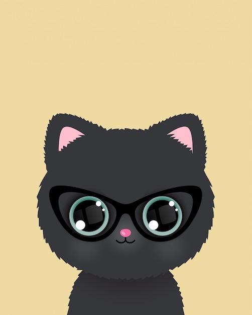 Schattige kleine kat in glazen poster. vector. Premium Vector