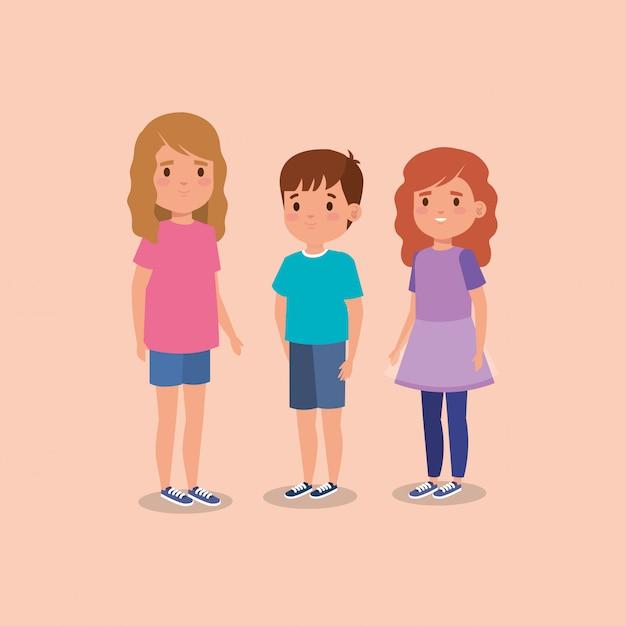 Schattige kleine kinderen avatar karakter Gratis Vector
