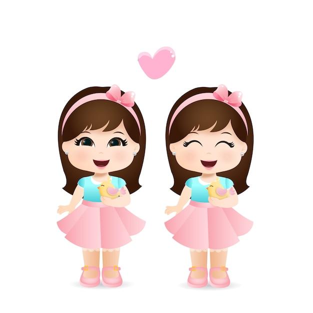 Schattige kleine meisjes Premium Vector