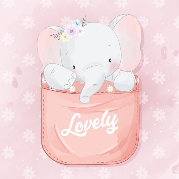 Schattige kleine olifant in de zak Premium Vector