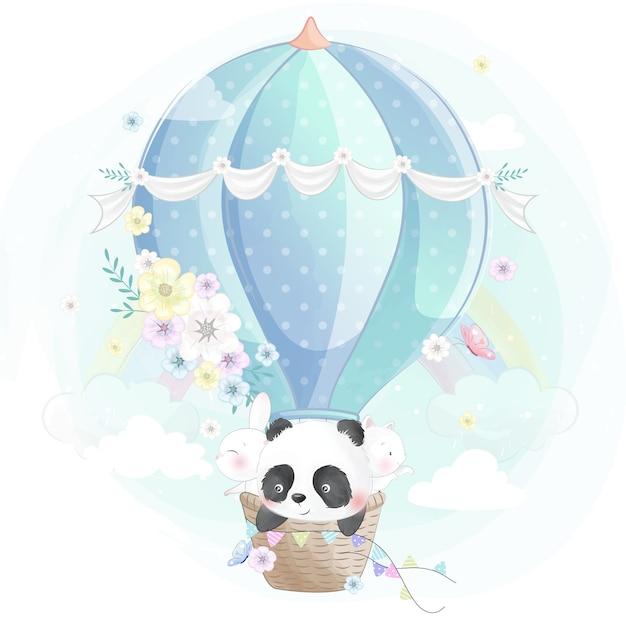 Schattige kleine panda, konijntje en poes in de luchtballon Premium Vector
