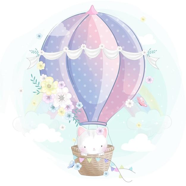 Schattige kleine poes in de luchtballon Premium Vector