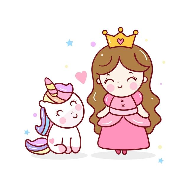 Schattige kleine prinses en unciorn vector Premium Vector