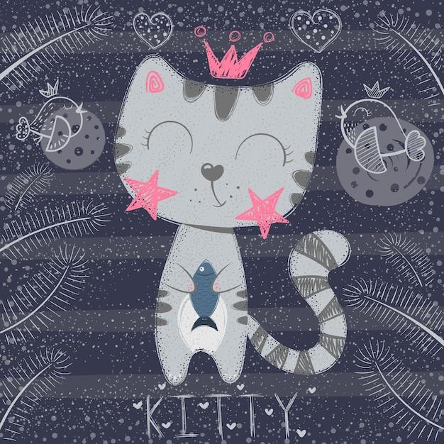 Schattige kleine prinses - grappige kat Premium Vector