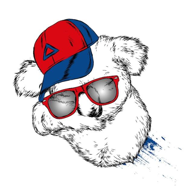 Schattige koala met bril en een pet Premium Vector