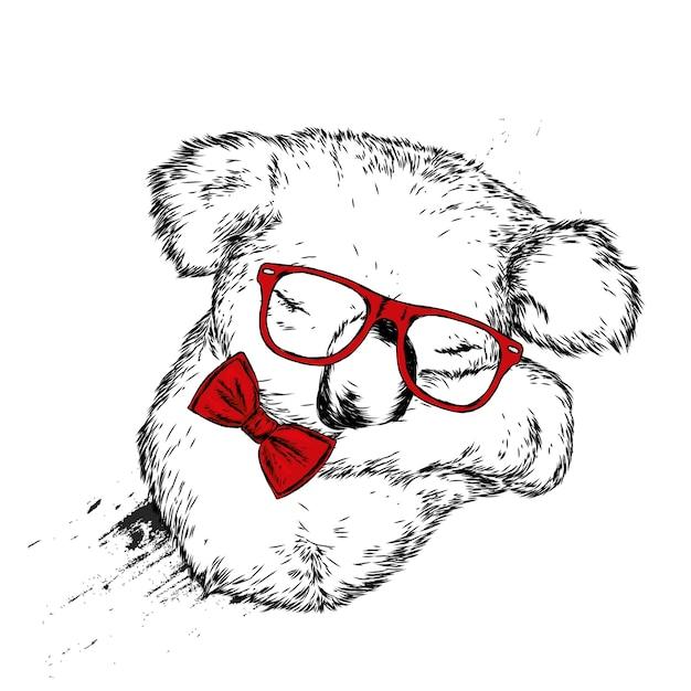 Schattige koala met bril en een vlinderdas Premium Vector