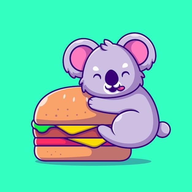 Schattige koala met grote hamburger cartoon pictogram illustratie. animal food icon concept geïsoleerd. flat cartoon stijl Gratis Vector