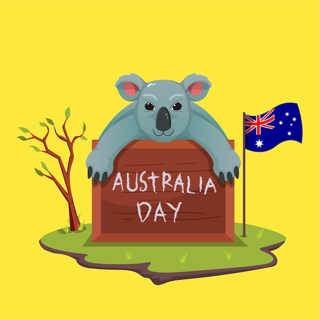 Schattige koala's vieren australia day met krijtborden en schrijven Premium Vector