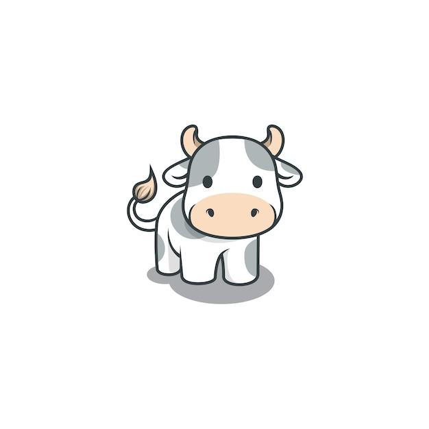 Schattige koe illustratie geïsoleerd Premium Vector