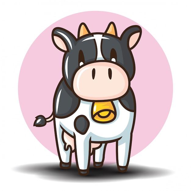 Schattige koe stripfiguur. dierlijk beeldverhaalconcept. Premium Vector
