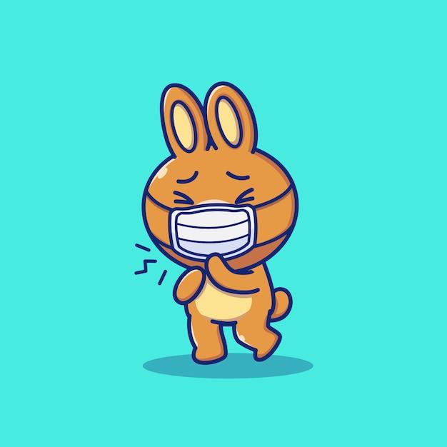 Schattige konijn dragen masker cartoon pictogram illustratie. dierlijke mascotte karakter. gezondheid dier pictogram concept geïsoleerd Premium Vector