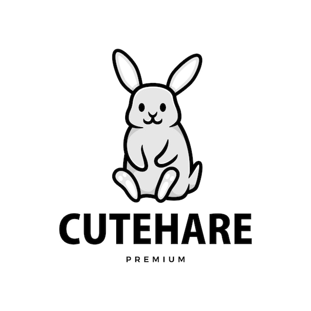 Schattige konijn haas bunny cartoon logo pictogram illustratie Premium Vector