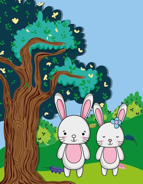 Schattige konijnen cartoons Premium Vector