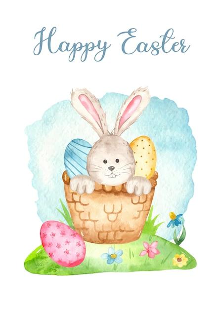 Schattige konijntje in een mand en eieren. aquarel paaskaart Premium Vector