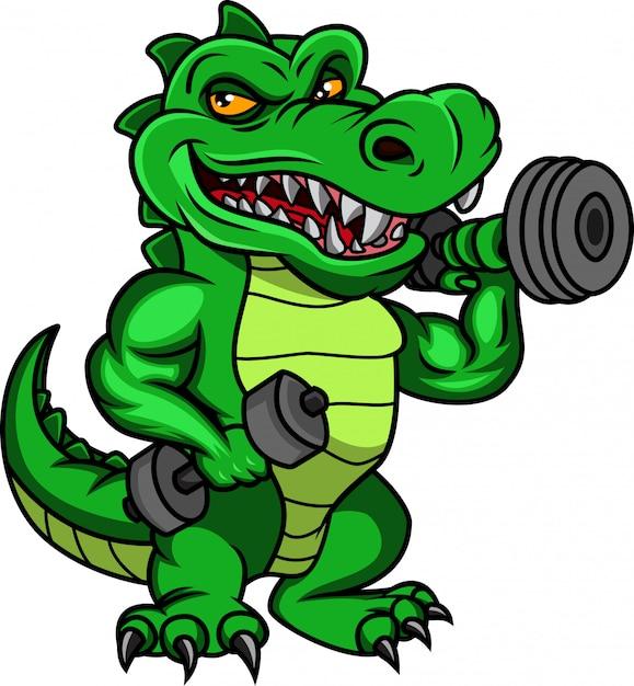 Schattige krokodil cartoon houden halters Premium Vector