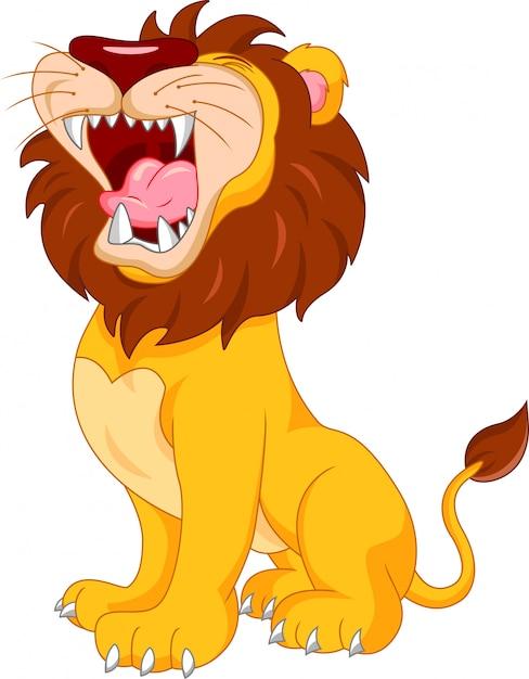 Schattige leeuw cartoon Premium Vector