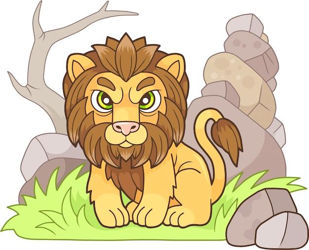 Schattige leeuw Premium Vector