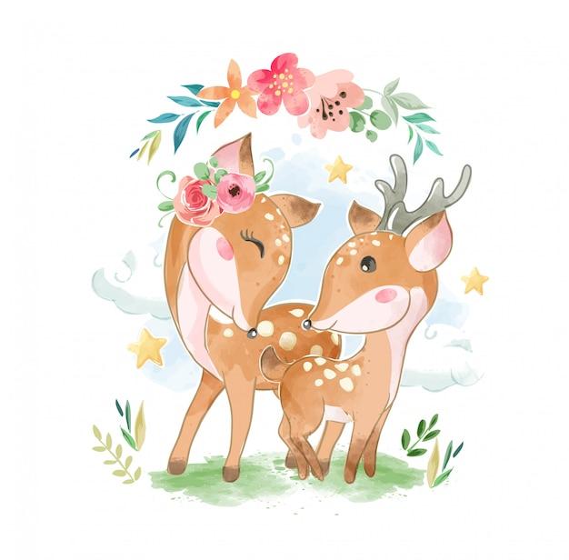 Schattige lieve familie met bloemen illustartion Premium Vector