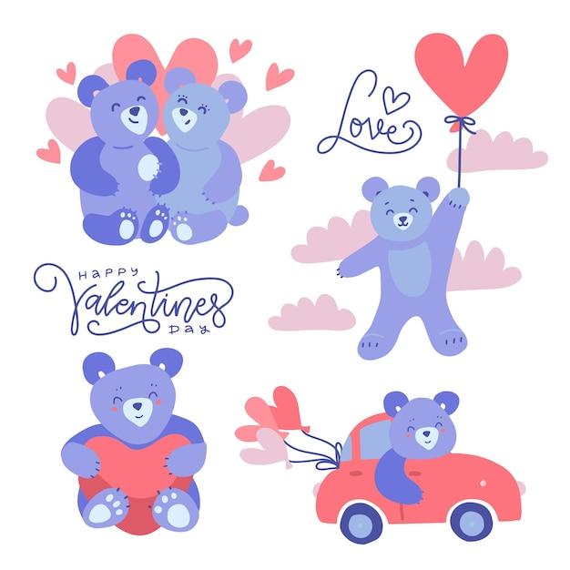 Schattige lila teddyberen - koppels en alleenstaand Premium Vector