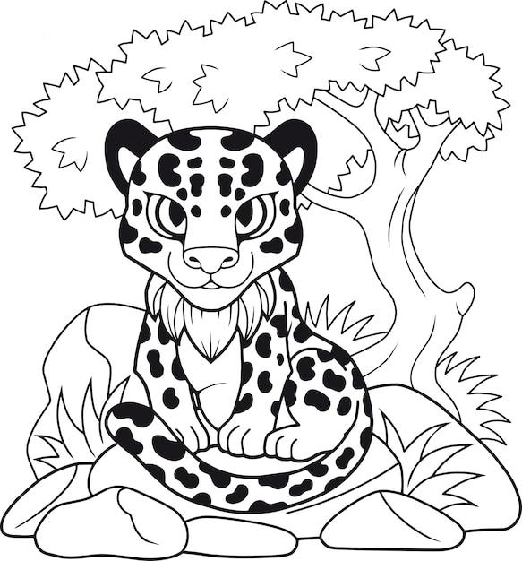 Schattige luipaard Premium Vector