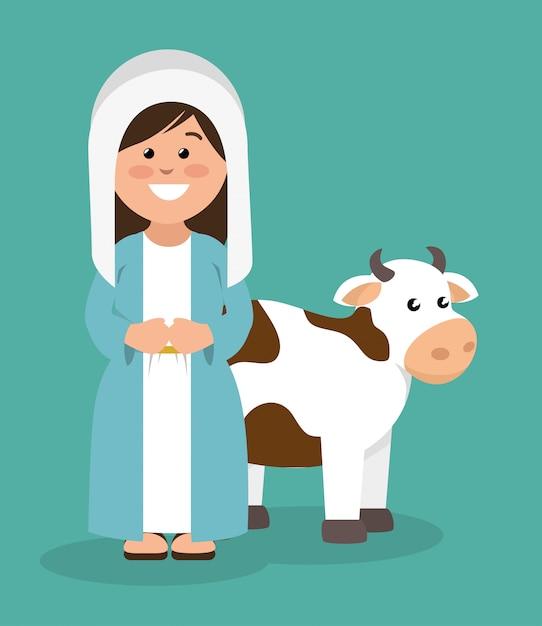 Schattige maagd maria en koe Gratis Vector