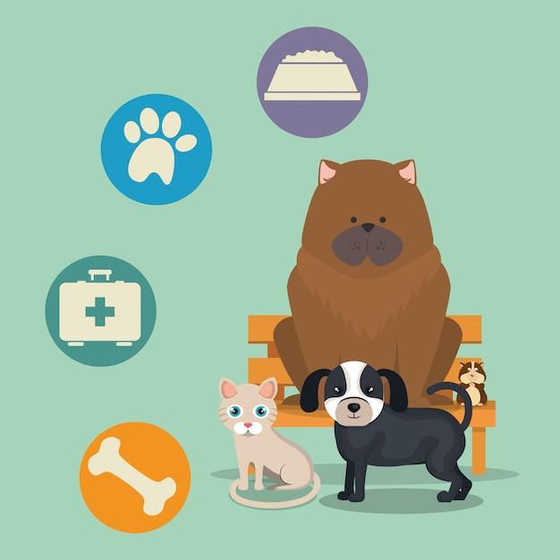 Schattige mascottes en dierenwinkel pictogrammen Gratis Vector