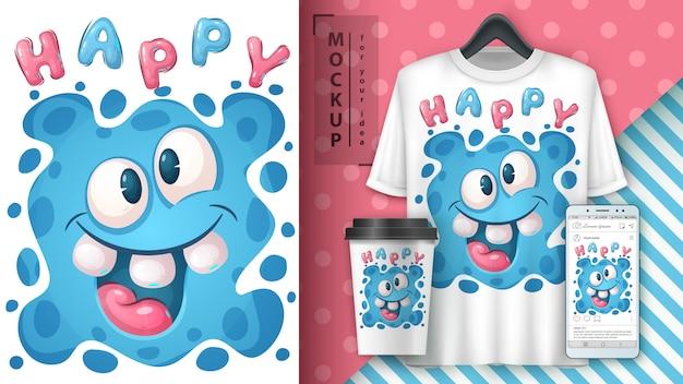 Schattige monster - poster en merchandising Gratis Vector