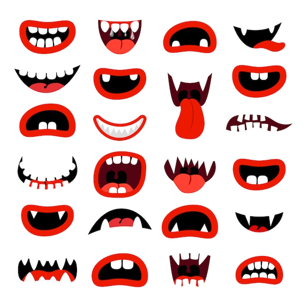 Schattige monsters mond set rode cartoon monden met tanden op wit Premium Vector
