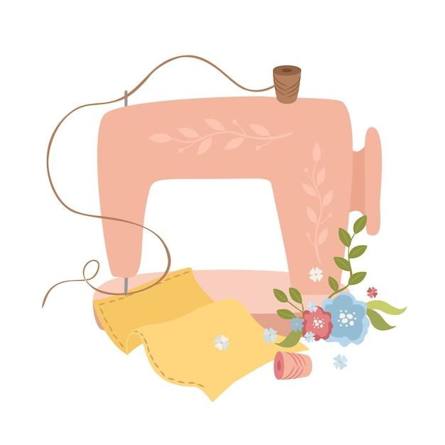 Schattige naaimachine illustratie Gratis Vector