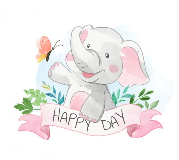 Schattige olifant en vlinder met gelukkige dag teken illustratie Premium Vector