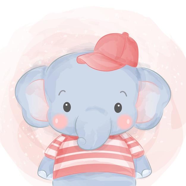 Schattige olifant met shirt en hoed Premium Vector