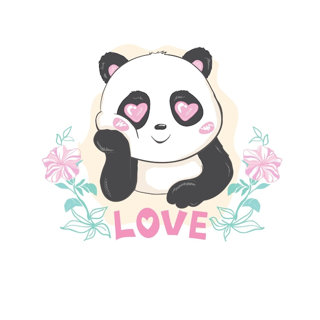 Schattige panda bear, vectorillustratie. Premium Vector
