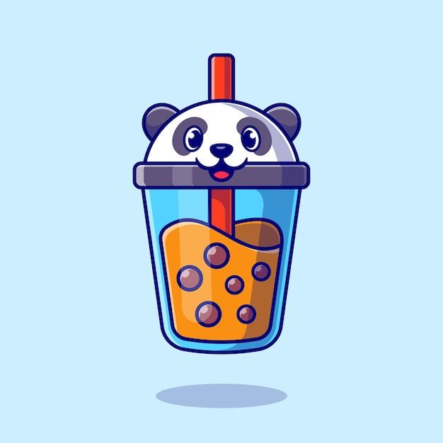 Schattige panda boba milk tea cartoon Gratis Vector