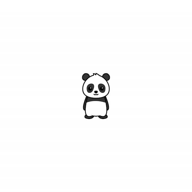 Schattige panda cartoon icoon Premium Vector