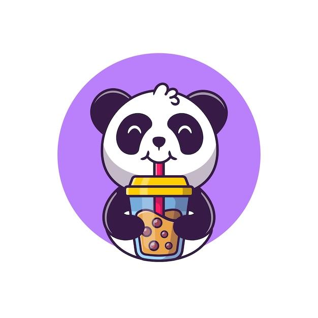 Schattige panda drinken boba melk thee cartoon vectorillustratie dierlijk voedsel concept geïsoleerde vector. flat cartoon stijl Gratis Vector