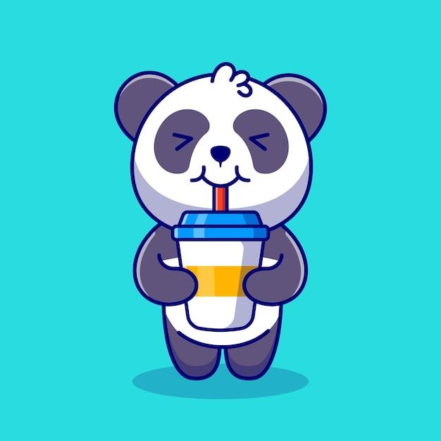 Schattige panda drinken koffie cartoon pictogram illustratie. Gratis Vector