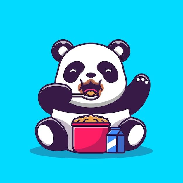 Schattige panda eten granen en melk ontbijt cartoon vectorillustratie. animal food concept geïsoleerde vector. flat cartoon stijl Gratis Vector