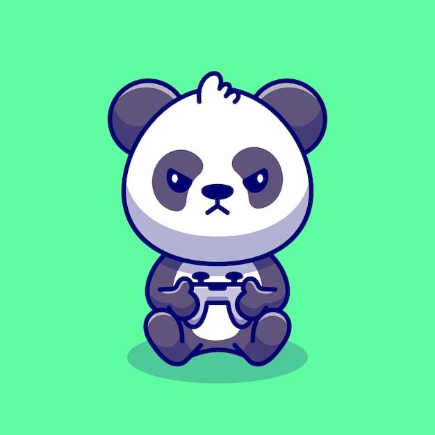 Schattige panda gaming cartoon pictogram illustratie. dierlijke technologie pictogram concept premium. platte cartoon stijl Gratis Vector