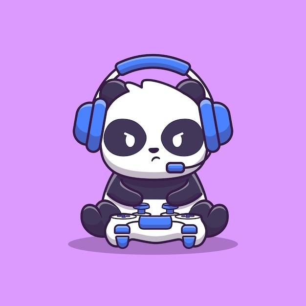 Schattige panda gaming illustratie. dierlijk spel. flat cartoon stijl Premium Vector